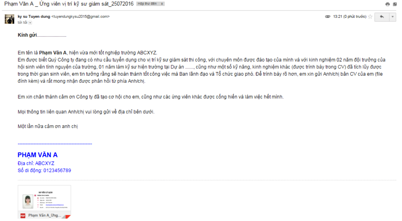 Những sai lầm cơ bản khi gửi Mail ứng tuyển